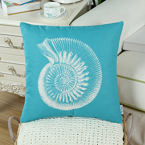 Set of 3 CaliTime Canvas Throw Pillow Covers Cases for Couch Sofa Home Decor, Mediterranean Sea Shells Print, 18 X 18 Inches Turquoise