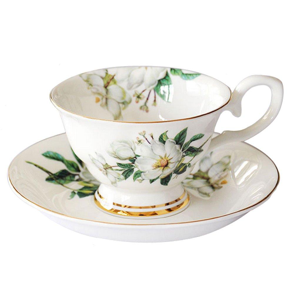 Lautechco European Style Porcelain Tea Cup Set with Saucer Floral Vintage Cups Set 200ml/6.7FL.OZ (Green)