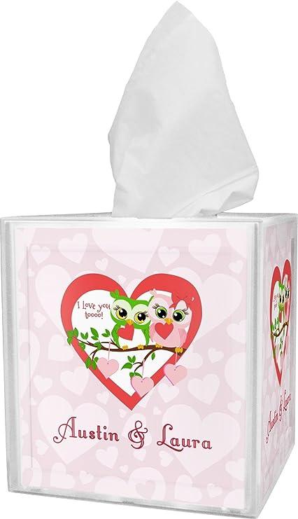 San Valentín búhos caja de pañuelos cover (personalizado)