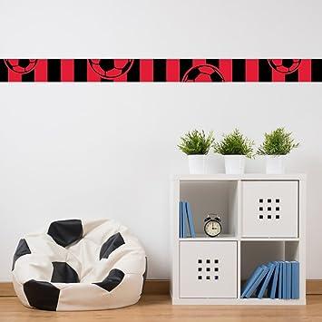 Bordüre Kinderzimmer E   Malango Bordure Fussballverein Fussball Schwarz Rot Wanddekoration