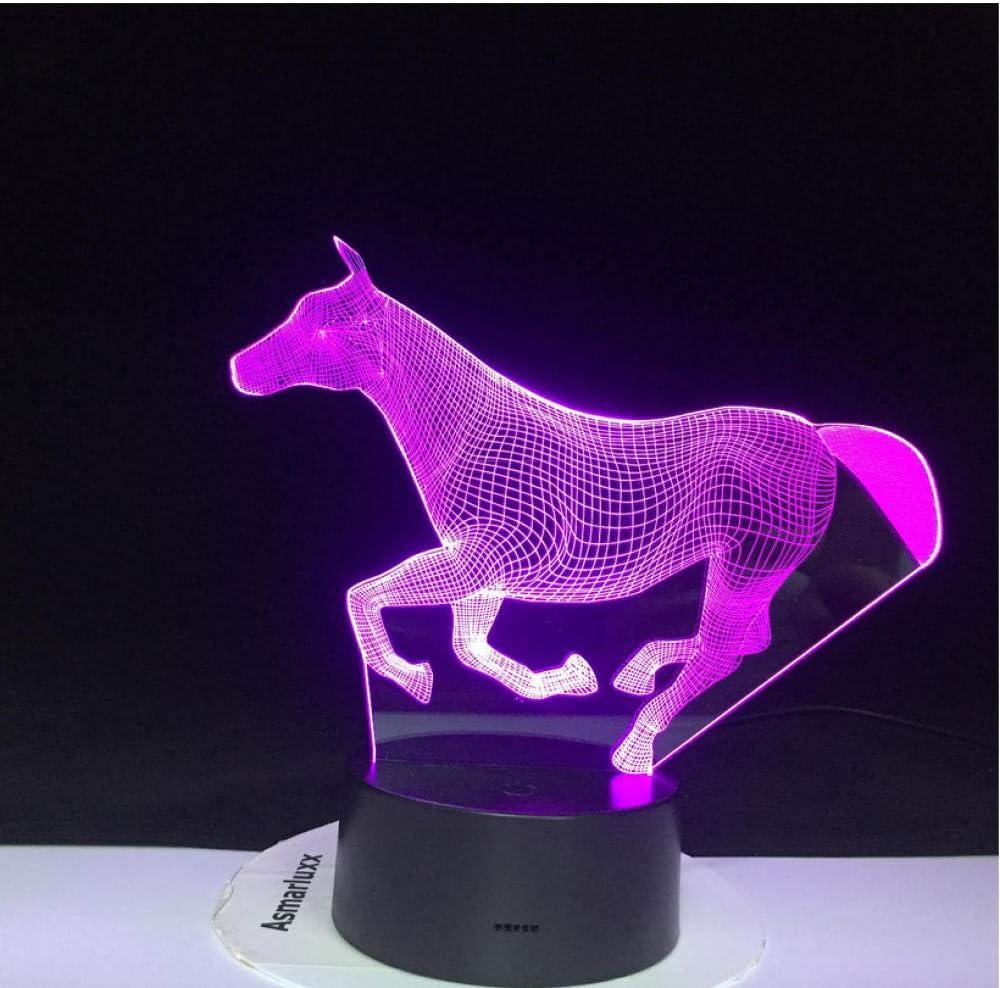 Gradiente de color Luces de noche de ilusión 3D Tocando lámparas LED Decoración de dormitorio para niños Luces de caballo con control remoto 16 colores Cambiar Ambiente de decoración del dormitorio