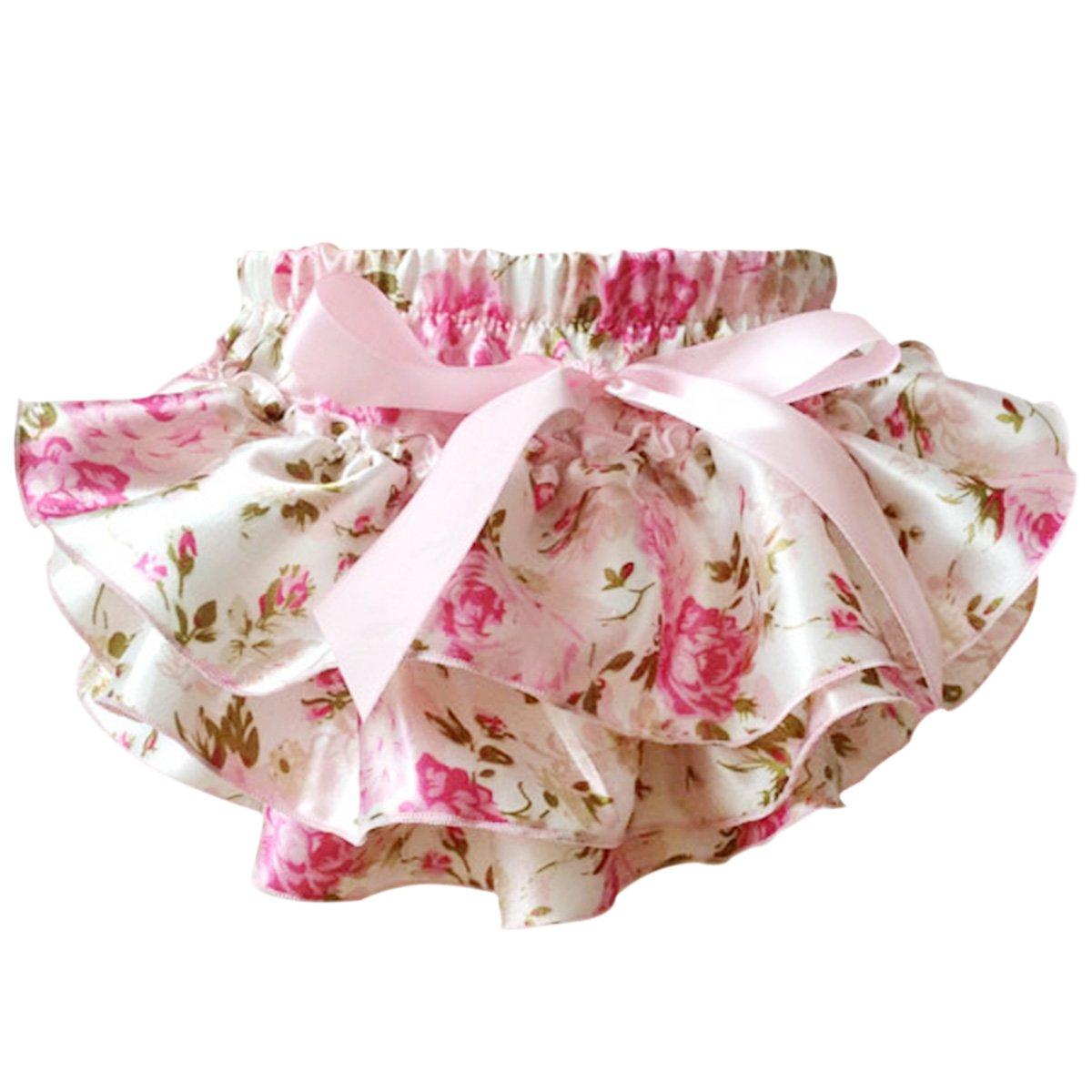 Sasairy neonate del bambino flroal Ruffle Culotte raso Bloomers strati del pannolino della copertura del fiore Shorts Gonne con l'arco 0-24 Mesi 302058PPK-YW-Parent