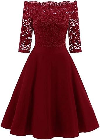 TWIFER damska sukienka z odsłoniętymi ramionami, styl vintage, koronka, patchwork, koktajl, na imprezę, retro, na huśtawkę, sukienka: Odzież