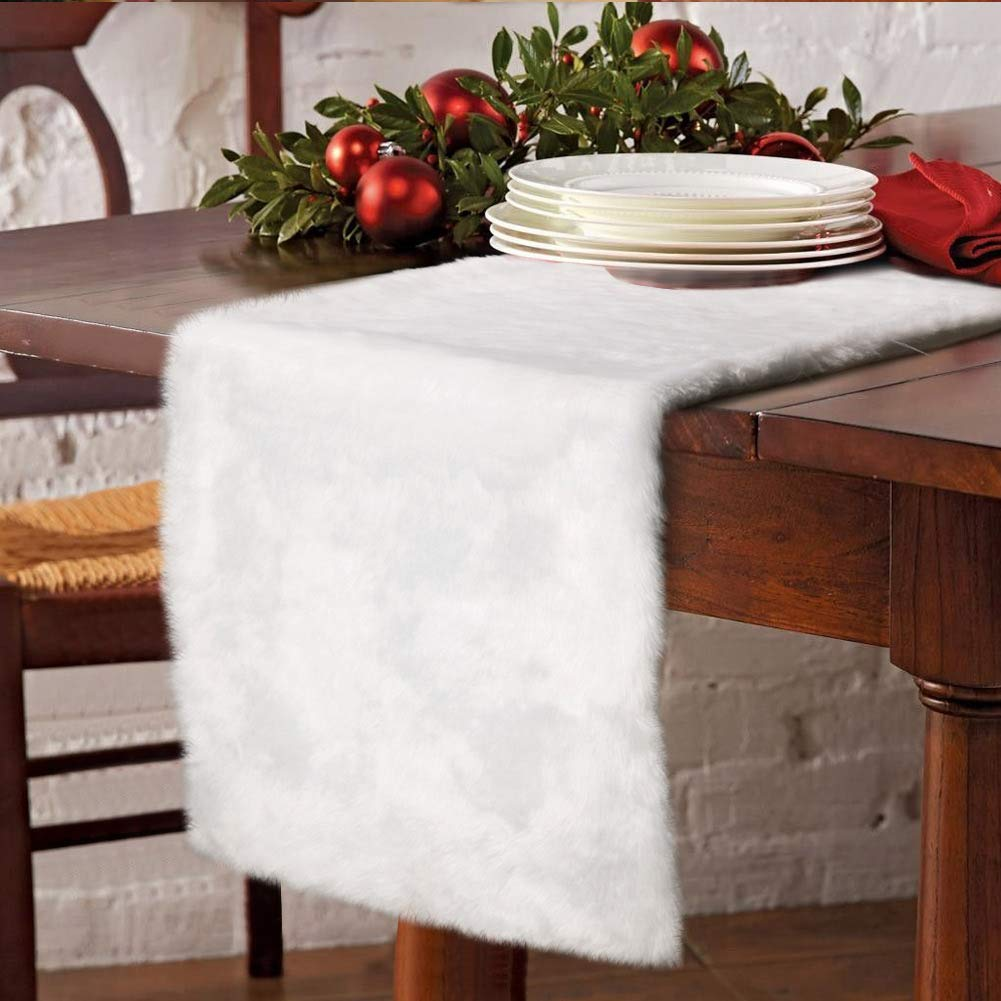 AerWo Faux Fur Christmas Table Runner, Winter Snowy White Table Runner for Christmas Holiday Table Decoration