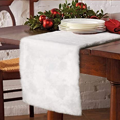 Aerwo Faux Fur Christmas Table Runner Winter Snowy White Table Runner For Christmas Holiday Table Decoration