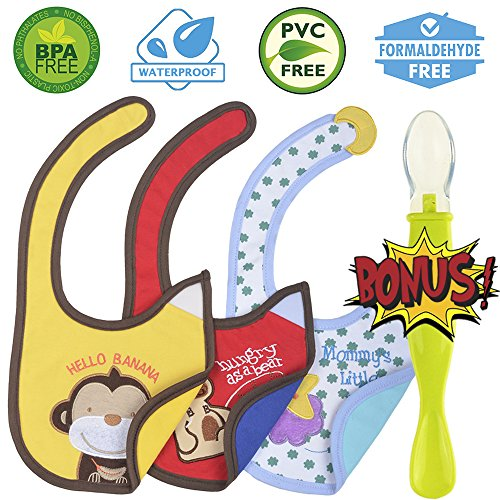 Cute Baby Waterproof Drool Bibs Pack with A Bonus Spoon - Best for Dribble While Feeding and Spit ups