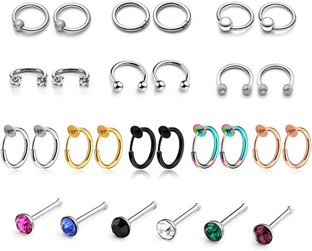 18pcs Stainless Steel 16G Nose Rings Hoop Nose Studs Septum Ear Helix Cartilage Ring