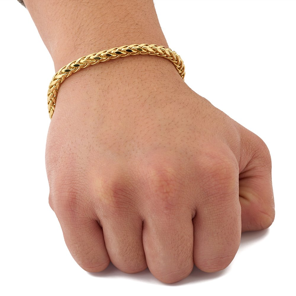 LoveBling 10K Yellow Gold 5mm 7'' Wheat, Palm Chain Bracelet with Lobster Lock
