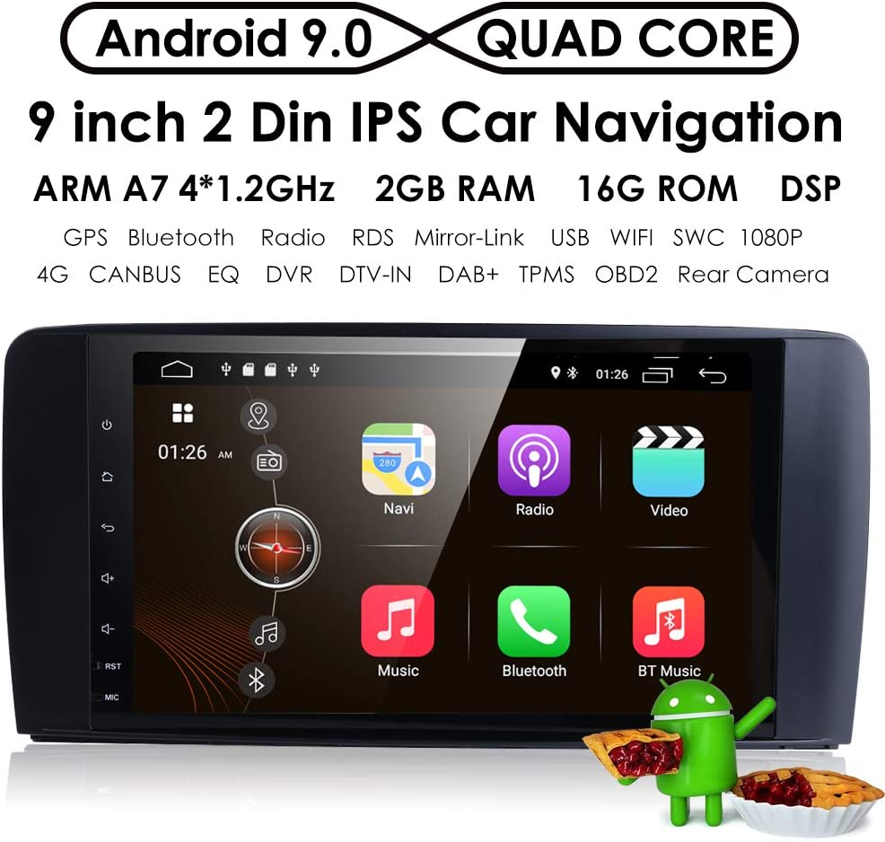 9 Inch 1024x600 Android 9.0 Car Radio GPS Navigation Stereo for Mercedes Benz ML GL W164 Auto GPS Navigation WiFi Bluetooth Touch Screen Mirror Link Optional 4G OBD2 DVR TPMS