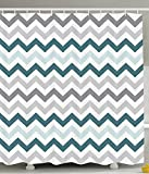 70 x 78 shower curtain - Geometric Waterproof Polyester Fabric Bathroom Shower Curtain Liner Set with Hooks, 70's Chevron Zig Zag Design Pattern Theme,36 x 78 Inches Long, Gray White and Teal