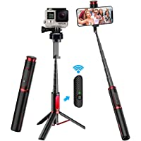 Selfie Stick Tripod, CAFELE All in One Extendable Tripod Stand with Detachable Bluetooth Remote,Lightweight Aluminum…