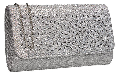 Sparkle Sophie Diamante Wedding Silver Party Womens Prom Clutch Ladies Bag Glitter SWANKYSWANS FFwr5ZqnH