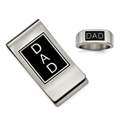 ICE CARATS Stainless Steel Brushed Money Clip Man Fashion Jewelry Gift for Dad Mens for Him