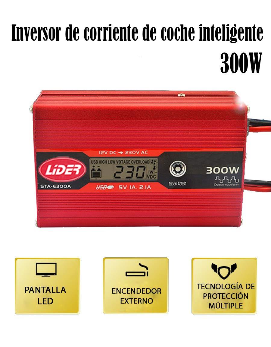 2.1A Nuevo Modelo controlado por Micro procesador L/ÍDER.-300W600W Inversor de Corriente Onda sinusoidal con Alarma de bater/ía convertidor DC 12A a AC220V para Coche con 2 Salidas USB 5V//1.A