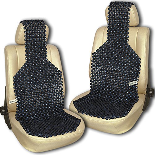 Zento Deals Pair of Black Premium Quality Natural Wooden Beaded Seat Massage Cushion- Universal Good Ventilation Car Seat Cushion