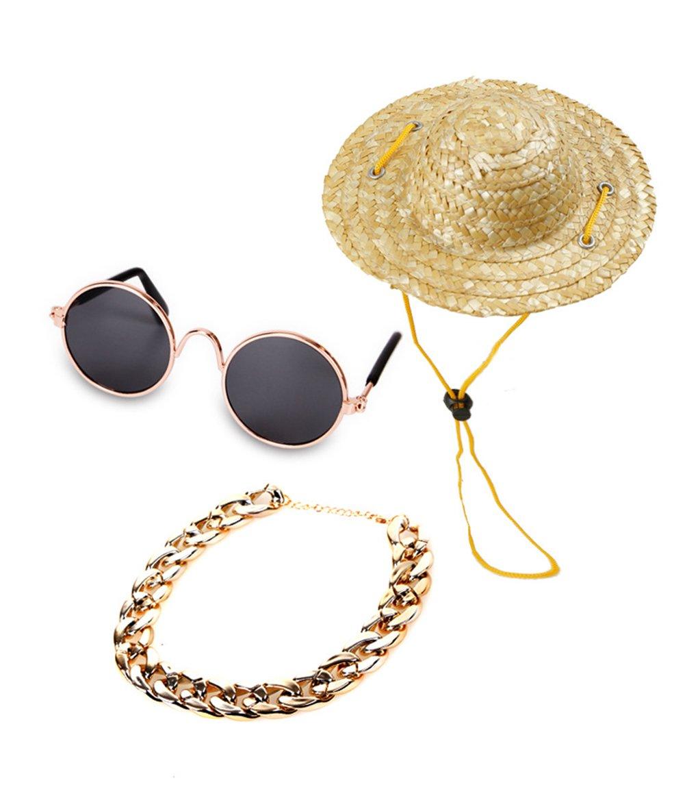 B Pet Sunglasses Dog Cat Collar Neckties Sun Visor Cap Straw Sombrero Hat Cosplay Costume Accessories