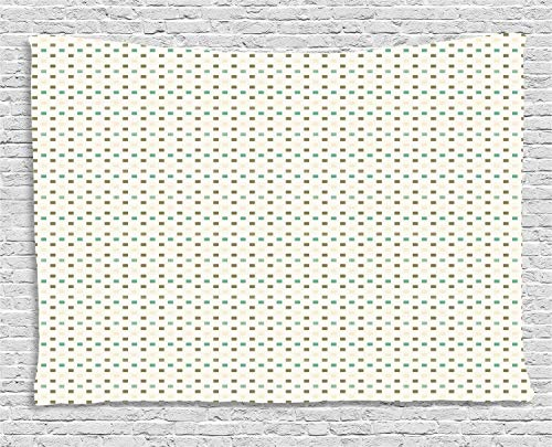 (Ambesonne Abstract Tapestry, Continuing Print of Mini Squares Drawn by Hand, Wall Hanging for Bedroom Living Room Dorm, 80 W X 60 L Inches, Dark Eggshell Laurel Green Cream and White )