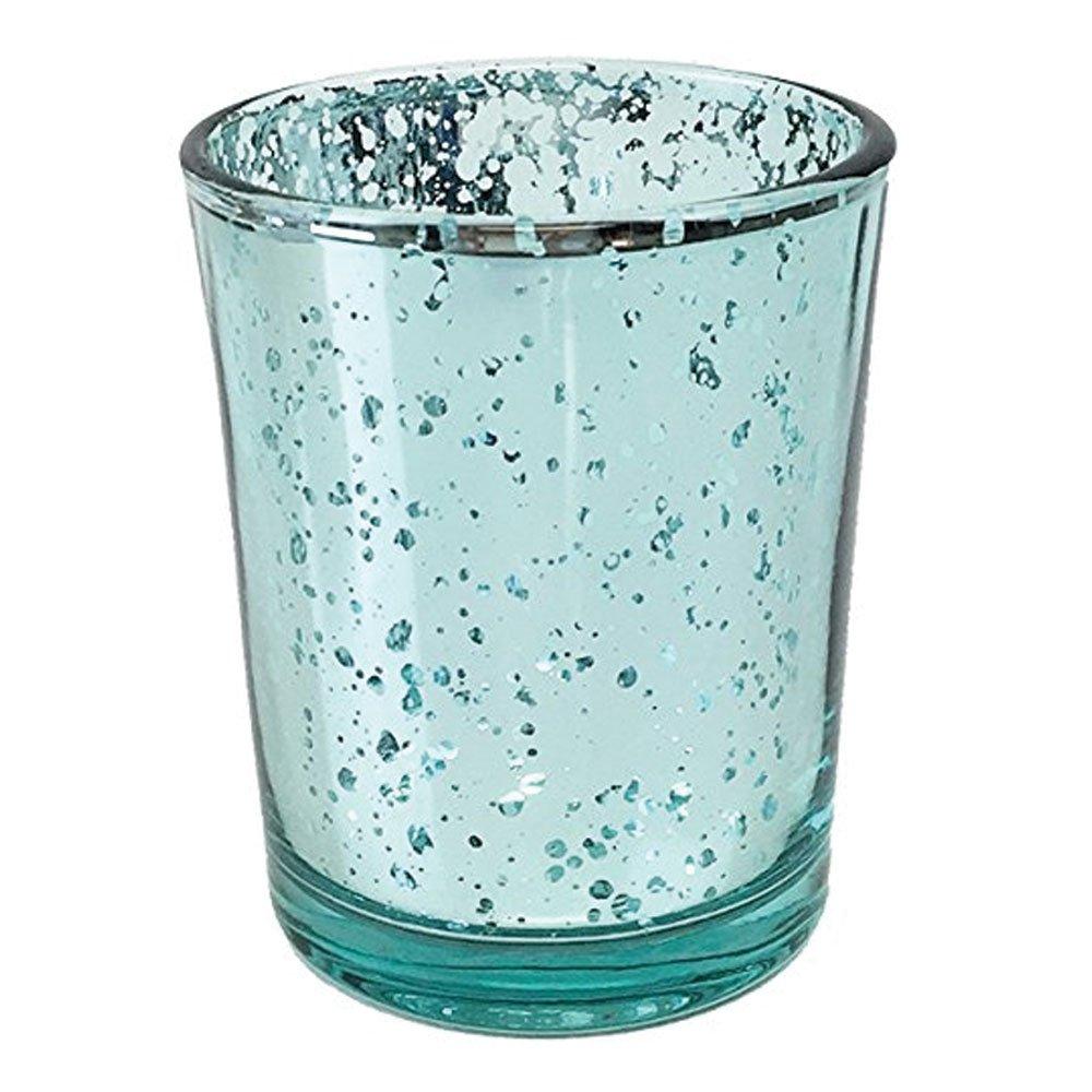 Just Artifacts (Bulk Mercury Glass Votive Candle Holder 2.75'' H (100pcs, Speckled Aqua) - Mercury Glass Votive Tealight Candle Holders for Weddings, Parties and Home Décor