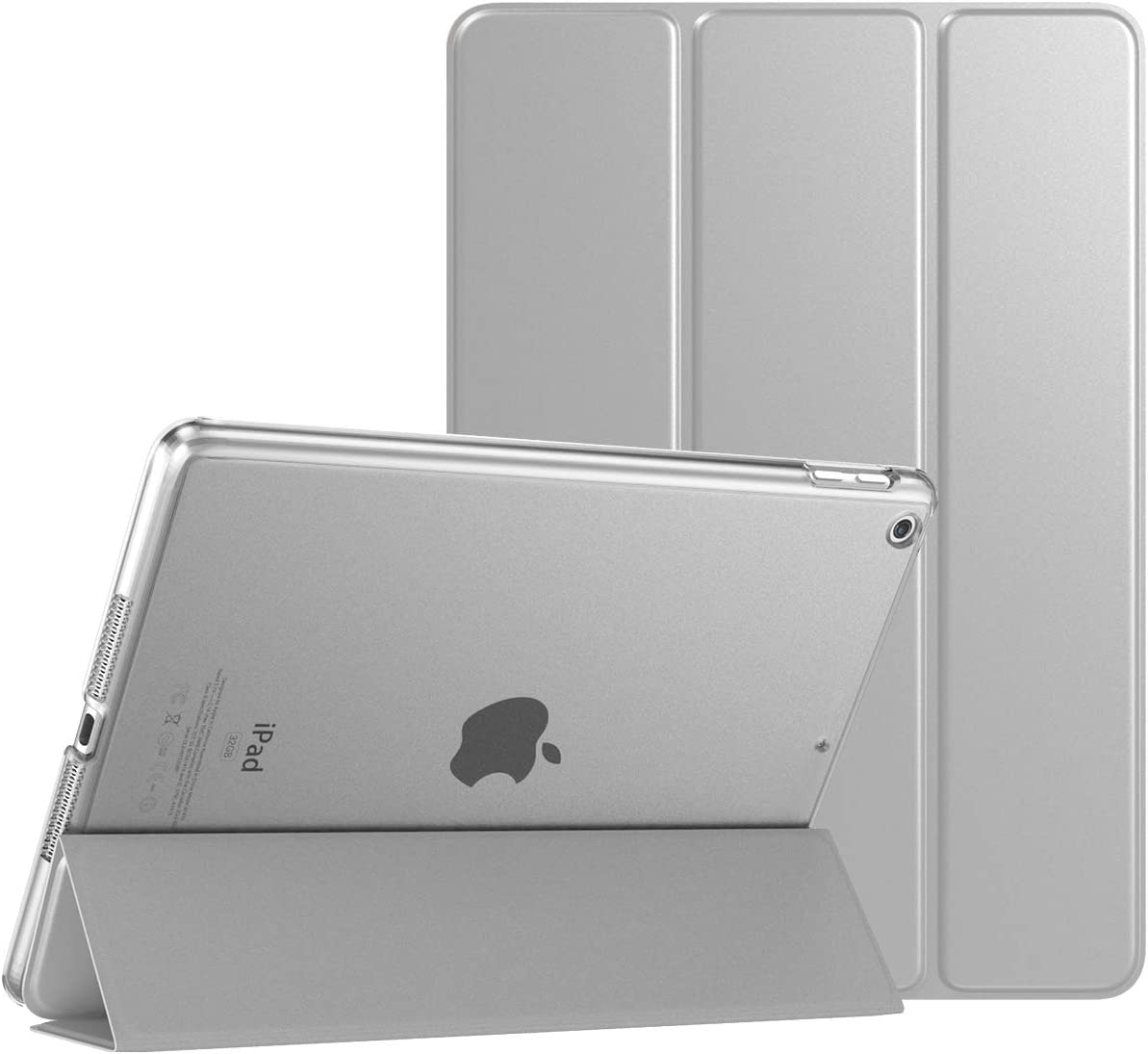 """TiMOVO Case for New iPad 8th Generation 2020 / iPad 7th Generation 10.2"""" 2019, Slim Translucent Frosted Back Protective Smart Cover Case with Auto Wake/Sleep for iPad 10.2-inch - Silver"""