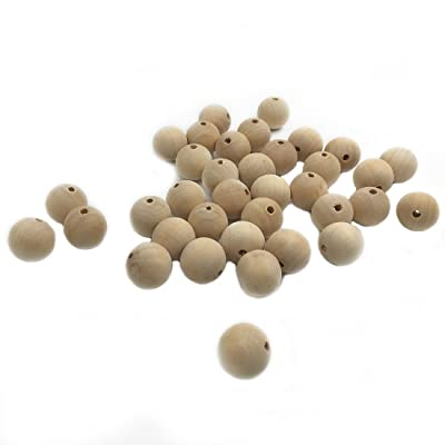 Amyster 100pcs Baby Teether Toys 0.39inch(10mm) Wooden Natural Round Beads Nursing Chewing Wooden Teether for Baby Teether Necklaces/Bracelets (100pcs) : Baby