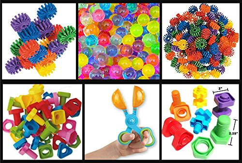 JellyBeadZ Brand - Nuts, Bolts and GearZ Kit - Includes 1000's of JellyBeadZ, 1 Scooper, and 18 Large Brightly Colored Pieces '' Geared'' Towards Little Hands and Developing Motor Skills by JELLY BEADZ