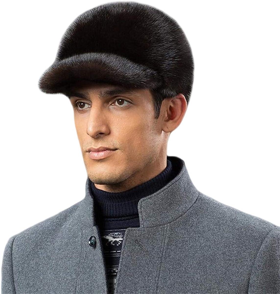 KAISHIN Winter Top Grade Peaked Caps Real Fur Visors Hats for Men Full-pelt Mink Fur Casquette