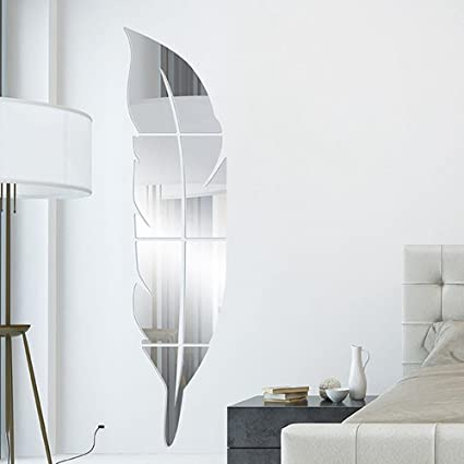 Soledi DIY moderne 3D Feather Plume Miroir Vinyle Autocollant Decal Art Accueil Chambre Murale Amovible Décor Décoration (Env.72 x 15,3 x 0.1cm, ou 28.3 x 5.9 x 0.03 inch)