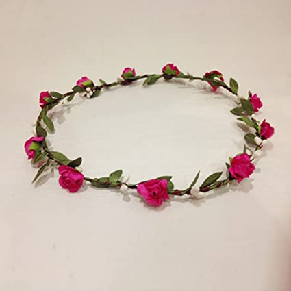 Bohemian Lovely Fake Flowers Rattan Headband Bridal Garland Flower Girl  Hair Band Crown Wreath Halo Floral 28df7416ea7
