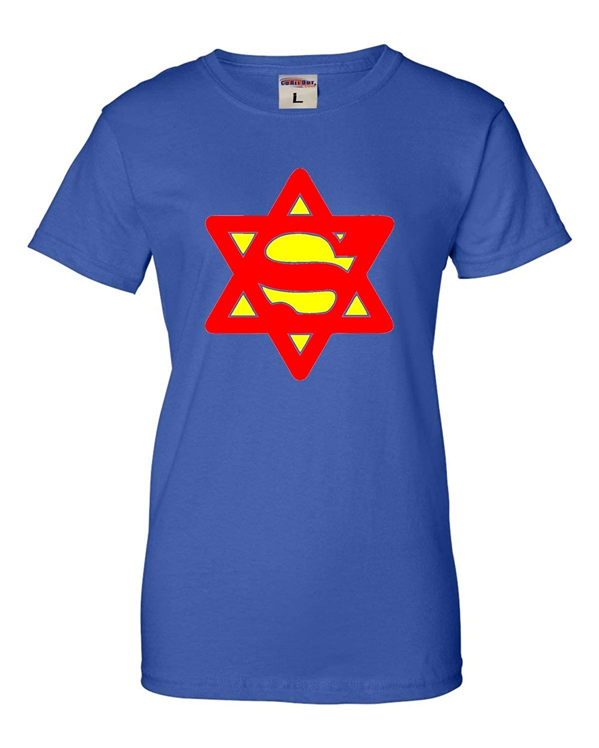 a3d88e4ce3 Amazon.com: Go All Out Womens Super Jew Funny Jewish T-Shirt: Clothing