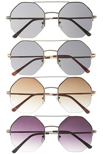 Trendy Fashion joyas únicas Octagon metal frame gafas de sol ...