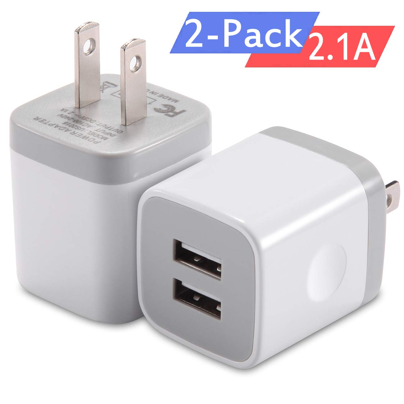 iPhone Wall Charger, Dual Port USB Charger 2.1AMP Home Travel Power Adapter Charging Plug Block Compatible with iPhone 8/7 Plus 6/6 Plus 5S 5 4S iPad 2/3/4/Mini/Pro/Air iPod by WITPRO (White) 2-Pack