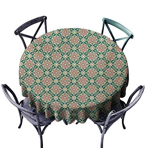 Lgckeg Round Tablecloth Eastern Vintage Mosaic Design of Florets Zigzag Borders Oval Details Forest Green Pale Pink Peach Great for Buffet Table D35