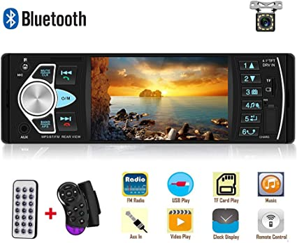 4.1in Single 1Din RDS AM FM Radio BT AUX USB TF Handsfree Car Stereo MP5 Player