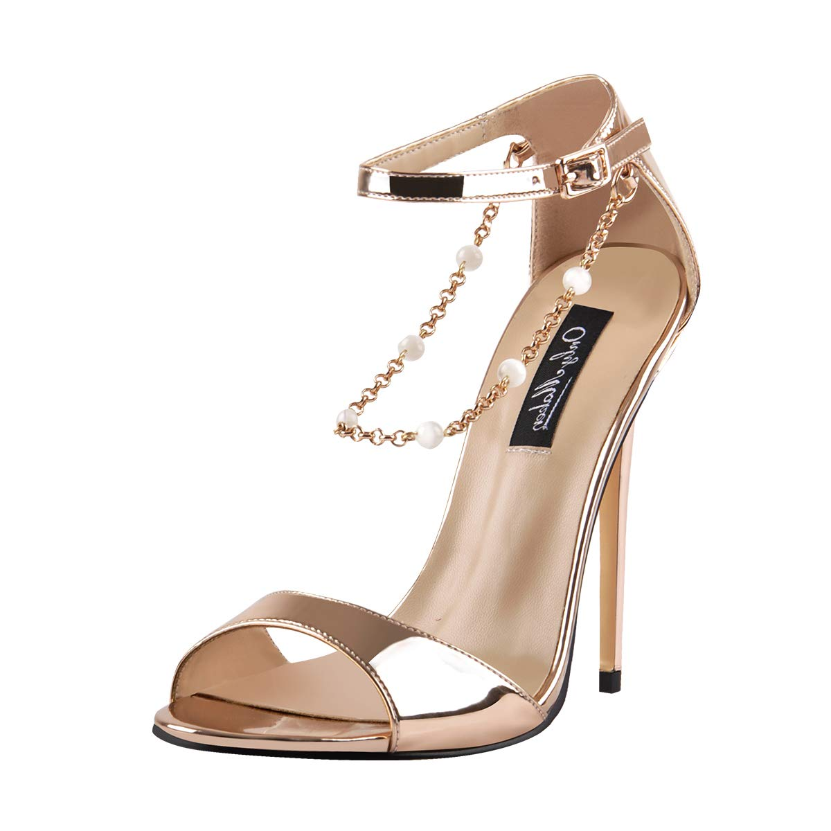 afc872edef261 Amazon.com | Onlymaker Womens Beaded Chain Ankle Strappy Stilettos High  Heel Sandals Open Toe Single Band Pearl Sandals Shoes | Sandals