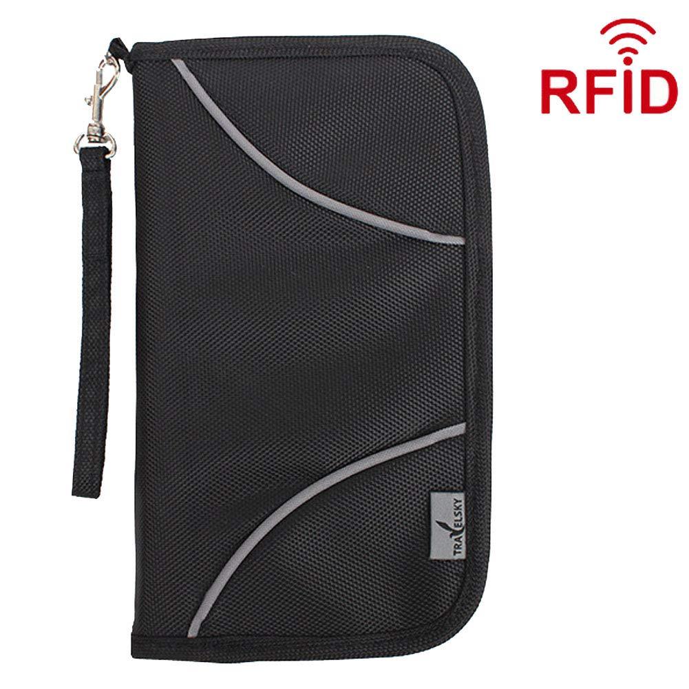 cd79f7825da7 Travel Passport Wallet for Men Women,Welegant RFID Blocking Passport Holder  Travel Wallet Document Organizer Case (S1, Black)