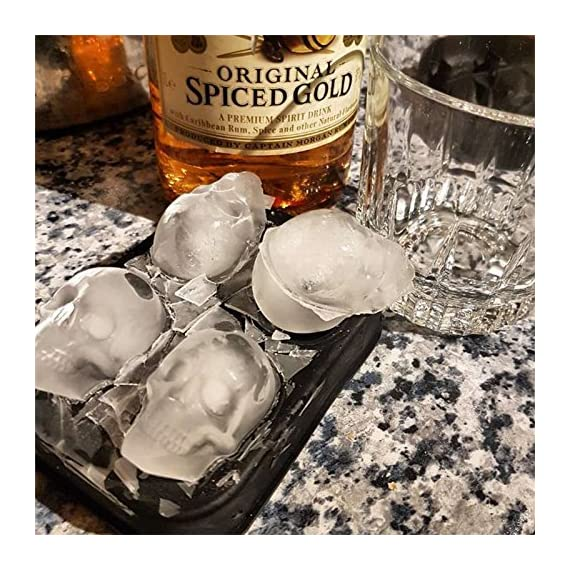 "3D Skull Ice Mold-2Pack,Easy Release Silicone Mold,8 Cute and Funny Ice Skull for Whiskey,Cocktails and Juice Beverages,Black 5 2 pack ice mold :eight giant skull shape ice cubes (2"" X 2.5"") make your drink look awesome. Great for parties, bars, restaurants, summer, holiday events and holiday gifts. Reliable material: food grade silicone. Non-toxic.100% safe to use. Non-stick materials. Easy to make a full skull ice.This durable and flexible silicone ice tray won't crack or break like plastic ice tray; easy to fill, remove and clean. Multiple use: it can also be used as mousse mold, sugar mold, chocolate, ice cream, soap making tools. And it is fantastic to be used in various occasions like parties, beaches, wine party and holiday events etc."
