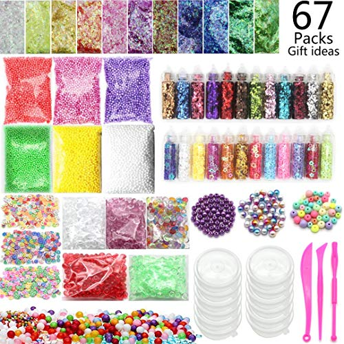 Slime Supplies Kit 67 Packs Slime Making Supplies, Including Slime Glitter Jars, Foam Balls, Fishbowl Beads, Fruit Flower Slices,Pearls, Slime Containers, Slime Accessories by Jiulroy