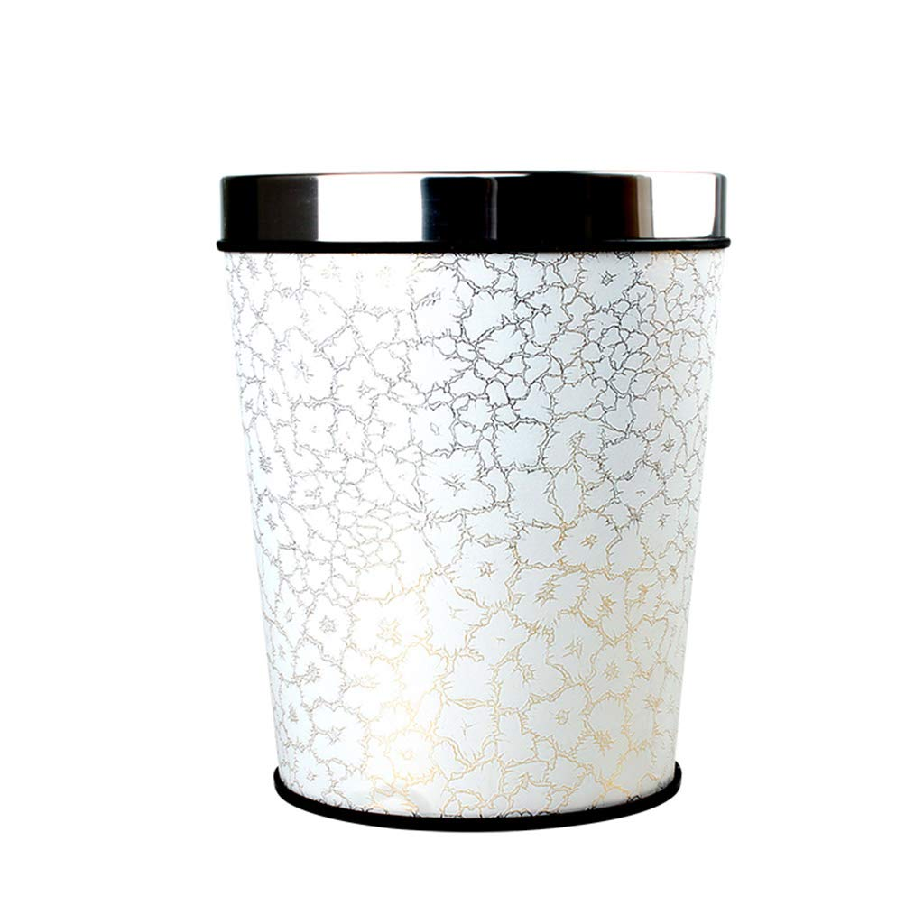 CSQ Creative Vintage Trash Can, Hotel Kitchen Bathroom Household Round Plastic Trash Can PU Trash Can Indoor (Color : J, Size : 24.531CM)