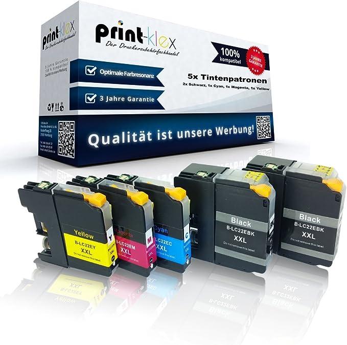 5x Print Klex Tintenpatronen Kompatibel Für Brother Mfc J5920dw Lc22e Bk Lc22e C Lc22e M Lc22e Y Schwarz Cyan Magenta Yellow Sparpack Premium Pro Serie Bürobedarf Schreibwaren