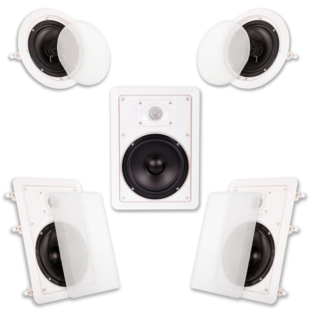Acoustic Audio HT-55 5.1 Home Theater Speaker System, White, Set of 5