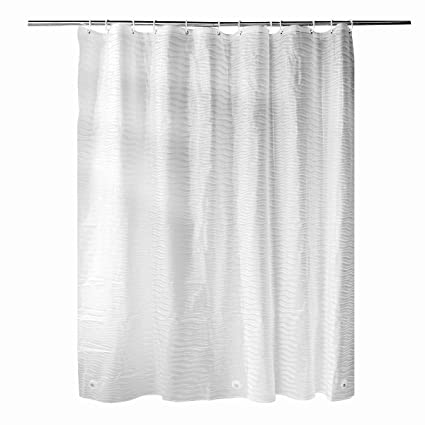 Fivanus Shower Curtain Liner With Hooks Treated To Resist Deterioration By Mildew