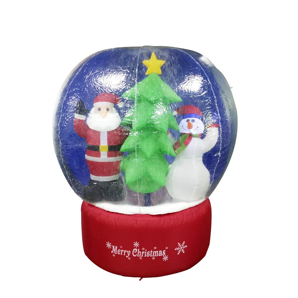 ALEKO CHID004 Inflatable LED Holiday Christmas Snow Globe with Merry Christmas Sign 5 Foot