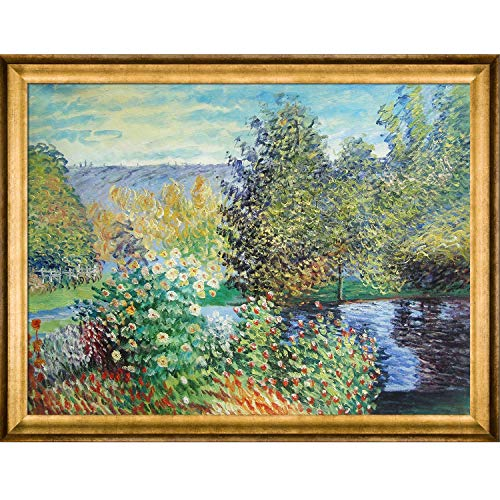 overstockArt Monet Corner of The Garden at Montgeron with Athenian Frame Antique Gold Finish