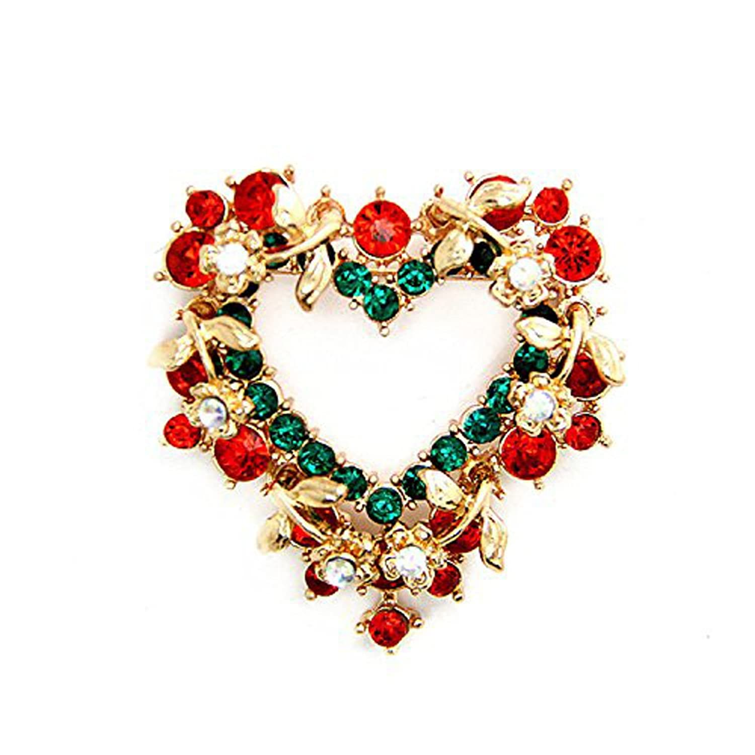 Genluna Red Heart Crystal Christmas Wreath Brooch Pin for Christmas Theme Party Decoration Gift