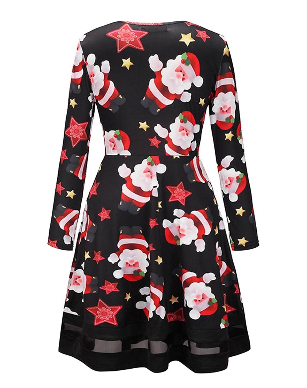 AIYUE Damen Weihnachtskleid Weihnachtliches Partykleid Elch ...