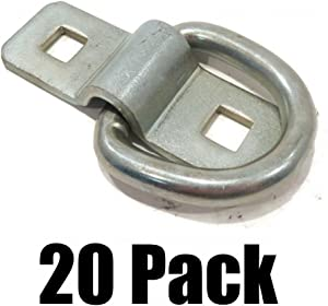 """(20) 3/8"""" Steel D Rings & Clips TIE Down for Trailer Truck Chain Anchor Bolt on"""