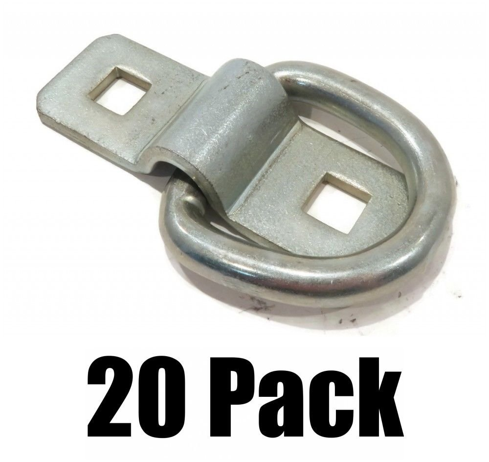 20 3//8 Steel D Rings /& Clips TIE Down for Trailer Truck Chain Anchor Bolt on The ROP Shop 5559014172