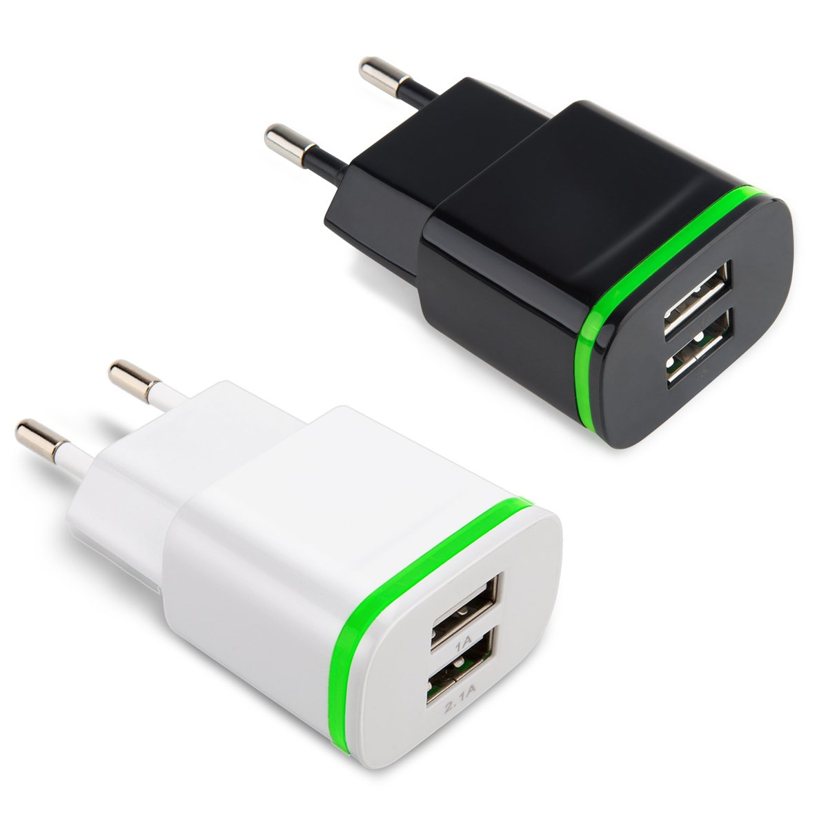 European Travel Charger, Power-7 2Pack 2.1A/5V Universal Dual Port USB Wall Charging Adapter Plug with LED Light for iPhone 7 Plus 6S 5S, Samsung Galaxy S8/Plus S7/S6 Edge, Tab, LG, HTC, Android Phone