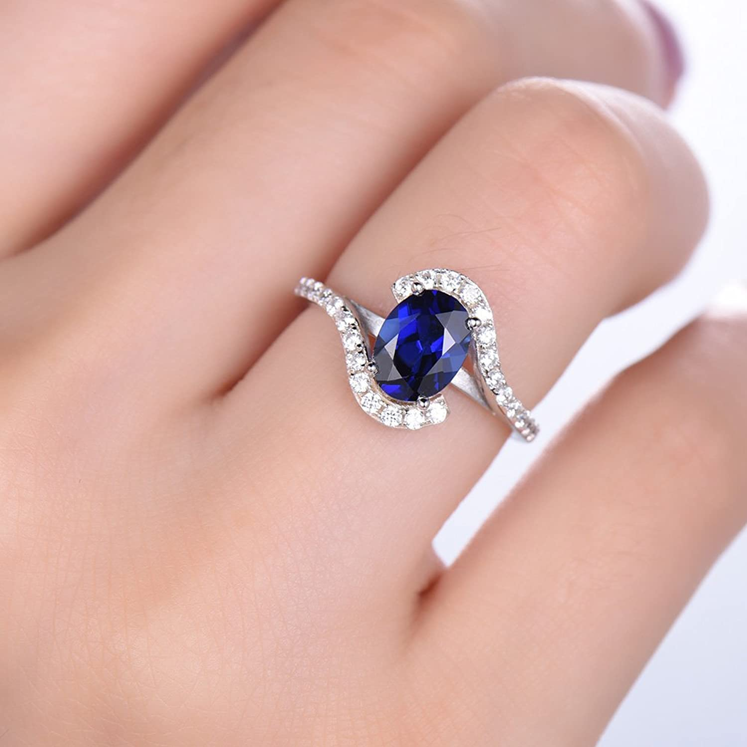 Amazon.com: Lab Blue Sapphire Engagement Ring 925 Sterling Silver ...