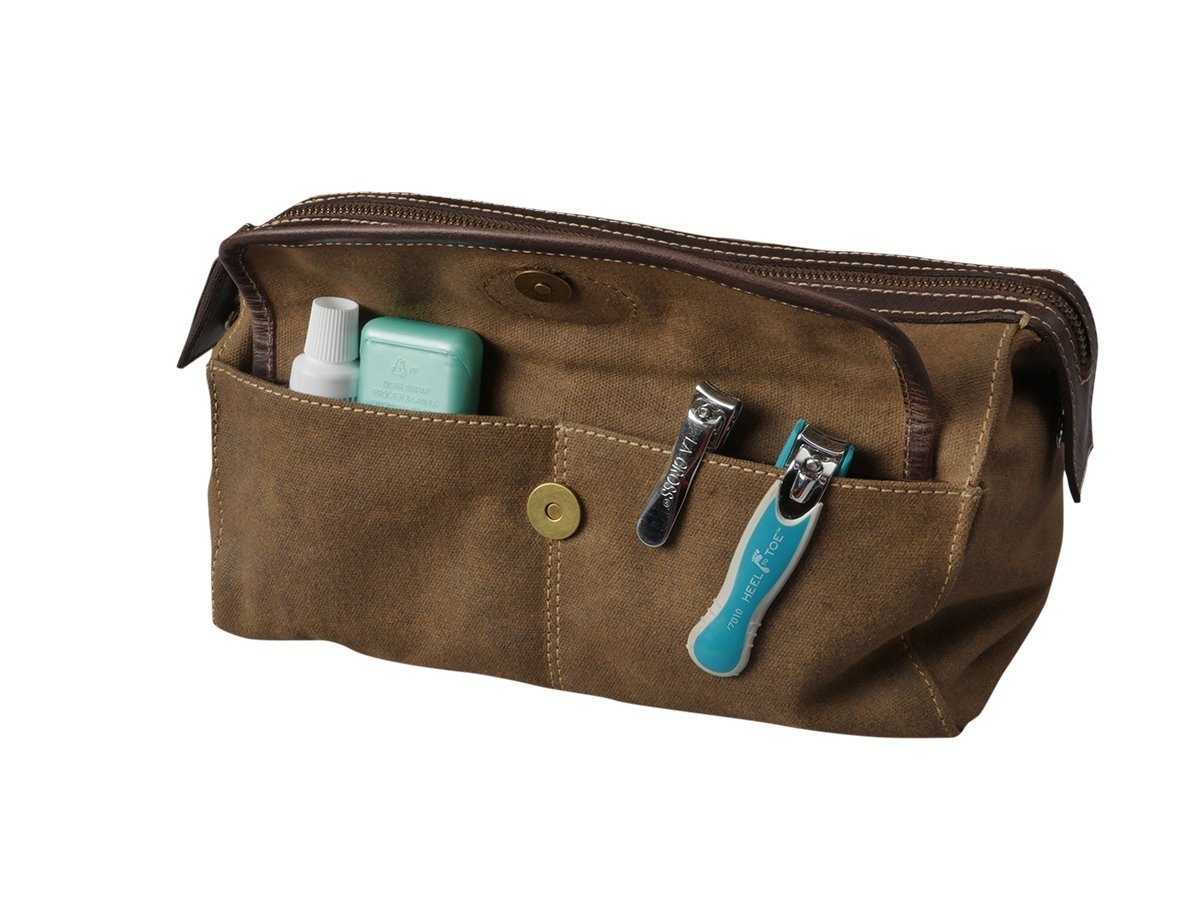 Men's Canvas Leather Toiletry Bag Shaving Kit - Bayfield Bags - Vintage Retro-Look Waxed Canvas Large (11x6x6) Travel Dopp Bag by Bayfield Bags